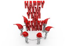 3d man happy new year and merry xmas concept Stock Photos