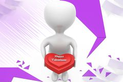 3d man happy valentine illustration Stock Photos