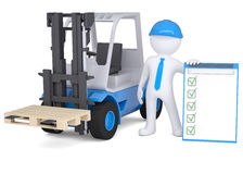 3d man in a hard hat next to the loader. Isolated render on a white background Royalty Free Stock Photography