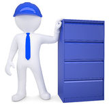 3d man in a hard hat next to a metal cabinet. Isolated render on a white background Royalty Free Stock Image