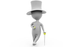 3d man with hat and cane concept Stock Photo