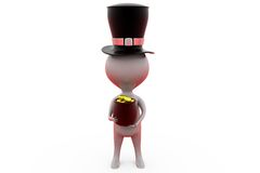 3d man with hat and coin concept Stock Images