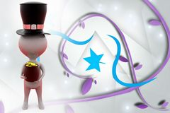 3d man with hat and coin illustration Stock Photo