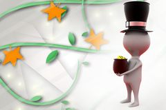 3d man with hat and coin illustration Stock Photography