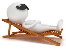 3d man having a rest on chaise lounge. 3d man having a rest on chaise lounge isolated on white background. Summer, recreation, travel, vacation concept Stock Photography