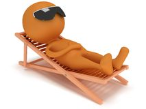 3d man having a rest on chaise lounge. 3d man having a rest on chaise lounge  on white background. Summer, recreation, travel, vacation concept Royalty Free Stock Photo