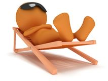 3d man having a rest on chaise lounge. 3d man having a rest on chaise lounge  on white background. Summer, recreation, travel, vacation concept Royalty Free Stock Image