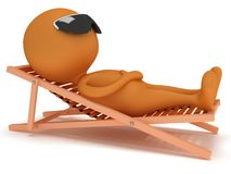 3d man having a rest on chaise lounge. 3d man having a rest on chaise lounge  on white background. Summer, recreation, travel, vacation concept Royalty Free Stock Images