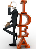 3d man with head of bulb and thinking for idea concept Royalty Free Stock Image