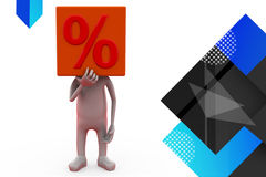 3d man head of percent sign illustration Royalty Free Stock Photo