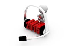 3d man 2015 headphone concept Stock Photography