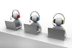 3D man with headset talking over the phone Royalty Free Stock Photos