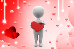 3d man heart with arrow illustration Stock Images