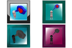 3d man heart bubble icon Stock Photos