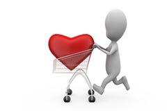 3d man heart in cart concept Stock Photo