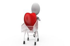 3d man heart in cart concept Royalty Free Stock Photos