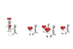 3d man heart in cart concept Royalty Free Stock Photo