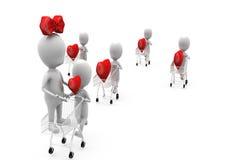 3d man heart in cart concept Stock Photos