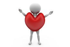 3d man in heart concept Stock Images