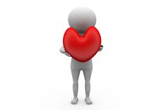 3d man with heart concept Royalty Free Stock Photo