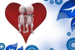 3d man heart couple illustration Stock Photos