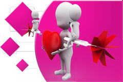 3d man heart dart illustration Royalty Free Stock Photography