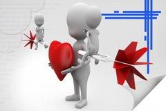 3d man heart dart illustration Royalty Free Stock Image