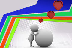 3d man heart and earth  illustration Royalty Free Stock Image