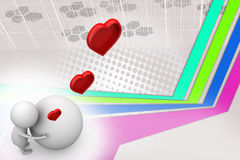 3d man heart and earth  illustration Royalty Free Stock Photography