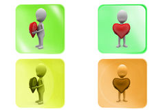 3d man heart in hands icon Stock Images