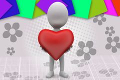 3d man heart in hands illustration Royalty Free Stock Photography