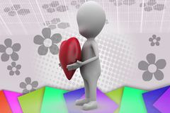 3d man heart in hands illustration Royalty Free Stock Photo
