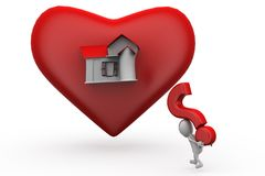 3d man  heart home question concept Royalty Free Stock Photography