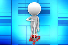3d man heart on scale Stock Images