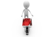 3d man hearts cart concept Stock Photo