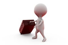 3d man heavy suitcase concept Royalty Free Stock Image