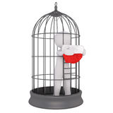 3d man held captive in a wire bird cage. Standing holding a red santa hat through the bars begging at Christmas, isolated rendered illustration on white Royalty Free Stock Image