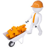 3d man in helmet carry in wheelbarrow clay puzzles Royalty Free Stock Photo