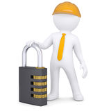 3d man in helmet with the combination lock Stock Images
