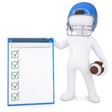 3d man in helmet holding ball and checklist. 3d white man in helmet holding football ball and checklist. Isolated render on a white background Royalty Free Stock Images
