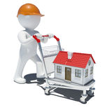 3d man in helmet on trolley carrying small house. White background Royalty Free Stock Photography