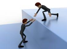 3d man help another man to climb up concept Stock Images