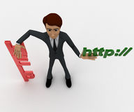 3d man with help and http text concept Stock Image