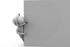 3d man hidewith headphone concept Royalty Free Stock Photo