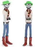 3d man hipster with old camera Royalty Free Stock Images