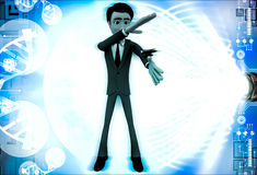 3d man about hit and kill bug with one hand illustration Royalty Free Stock Photography