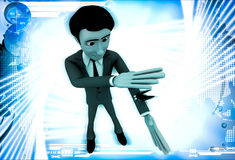 3d man about hit and kill bug with one hand illustration Royalty Free Stock Photo