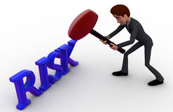 3d man hit risk text with hammer concept Stock Images