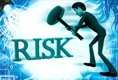 3d man hit risk text with hammer illustration Royalty Free Stock Photography