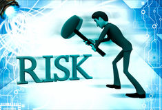 3d man hit risk text with hammer illustration Stock Photos